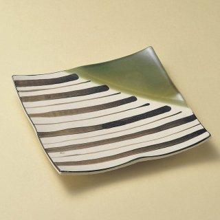 織部十草浜付四角皿 大 和食器 角皿(中) 業務用 約24.8cm 和食 和風 和皿 高級 お造り 揚げ物