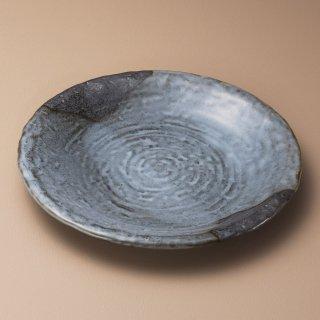山がすみ石目8.0皿 和食器 丸皿(大) 業務用 約25.5cm 和食 和風 ランチ とんかつ定食 主菜