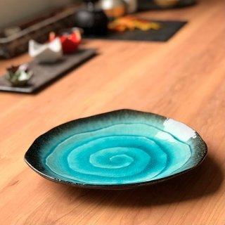 均窯スカイブルー三角9.0皿 和食器 丸皿(大) 業務用 約26.5cm 和食 和風 ランチ とんかつ定食