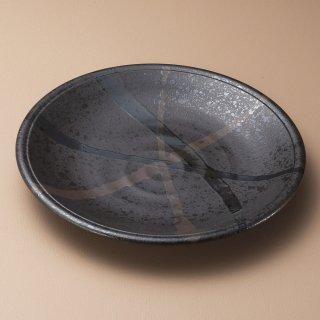 東雲 黒 円8.5皿 和食器 丸皿(大) 業務用 約26.5cm 和食 和風 ランチ とんかつ定食 主菜
