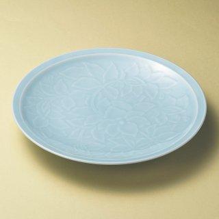 青白磁唐草9.0皿 和食器 丸皿(大) 業務用 約28.2cm 和食 和風 ランチ とんかつ定食 主菜