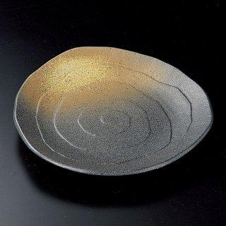 黒備前吹三角9.0皿 和食器 丸皿(大) 業務用 約27cm 和食 和風 ランチ とんかつ定食 主菜