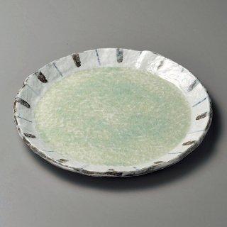 ヒワ釉渕十草9.0丸皿 和食器 丸皿(大) 業務用 約28.7cm 和食 和風 ランチ とんかつ定食 主菜