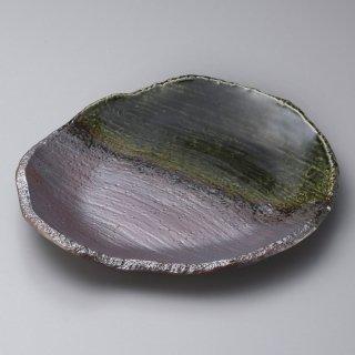 織部掛変形9.0皿 和食器 丸皿(大) 業務用 約28cm 和食 和風 ランチ とんかつ定食 主菜