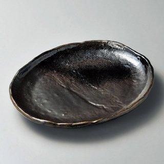 琥珀10号小判皿 萬古焼 和食器 丸皿(大) 業務用 約29.5cm 和食 和風 ランチ とんかつ定食 主菜