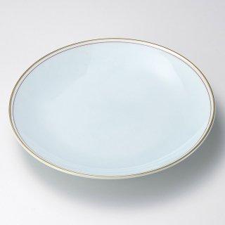 渕金朱青白磁9号皿 有田焼 和食器 丸皿(大) 業務用 約27cm 和食 和風 ランチ とんかつ定食 主菜