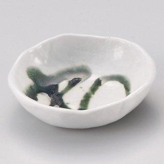 白マット織部流し豆皿 和食器 小皿 業務用 約9.2cm 和食 和風 漬物 たれ 薬味 サラダ 和菓子 冷奴 ミニ しょうゆ皿