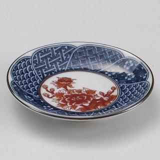 祥瑞赤バラ玉渕3.3皿 和食器 小皿 業務用 約10cm 和食 和風 漬物 たれ 薬味 サラダ 和菓子 冷奴 ミニ しょうゆ皿