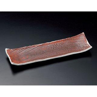 朱巻粉引き長角皿 大 和食器 細長皿(大) 業務用 約41cm 和食 和風 刺身 寿司 焼き物 串物 大皿