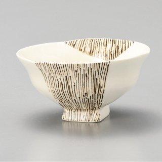 つなぎ十草浜四角茶碗 和食器 飯碗 業務用 約11.8cm 和食 和風 茶碗 ご飯茶碗