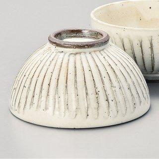粉引ソギ目大平 和食器 飯碗 業務用 約12.4cm 和食 和風 茶碗 ご飯茶碗 男性用