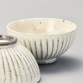 粉引ソギ目中平 和食器 飯碗 業務用 約11.4cm 和食 和風 茶碗 ご飯茶碗 一般 標準