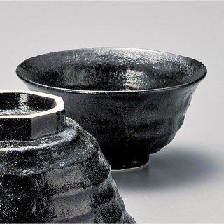 瀬戸黒ろくべ型豆茶碗 和食器 飯碗 業務用 約10.8cm 和食 和風 茶碗 ご飯茶碗