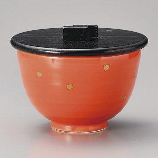 オレンジ釉金粉姫丼蓋付飯器 和食器 飯器 業務用 約11.2cm 和食 和風 白米飯 炊き込みご飯