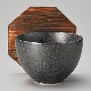 モダン黒お好み碗蓋付 和食器 飯器 業務用 約11cm 和食 和風 白米飯 炊き込みご飯