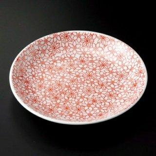 赤小紋4.0皿 和食器 フルーツ皿・銘々皿・取皿 業務用 約12.8cm 和食 和風 プレート フルーツ デザート 和菓子 甘味 ケーキ 和テイスト 定番 取り皿