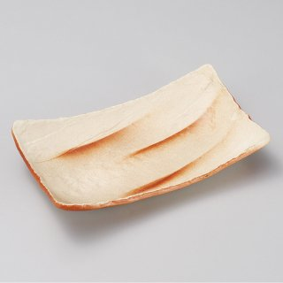 ヒダスキ長角皿 大 和食器 長角皿 業務用 約26.5cm 和食 和風 串物 ホッケ皿 揚げ物