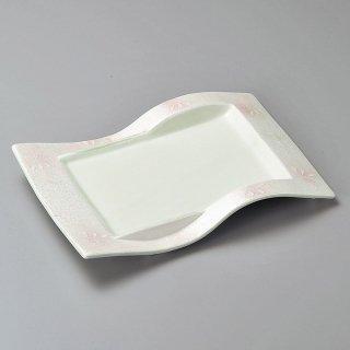 花ちらしピンクラスター焼物皿 和食器 長角皿 業務用 約26cm 和食 和風 串物 ホッケ皿 揚げ物
