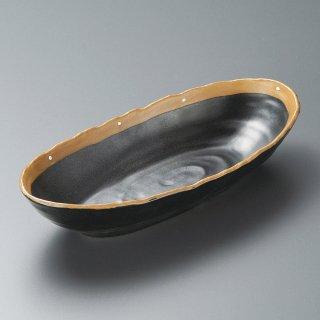 黒ドット手造長盛鉢 和食器 盛鉢 業務用 約29.5cm 和食 和風 鉢 大鉢 サラダ 揚げ物 煮物 ボウル 創作料理 ボール 人気 定番