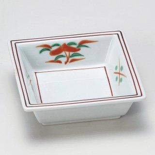 赤絵花四角鉢 和食器 松花堂パーツ 業務用 約11.2cm 和食 和風 御膳 旅館 和食レストラン 小料理屋 刺身 天ぷら 煮物 酢の物 和え物