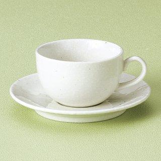 洋風粉引カプチーノ碗皿 和食器 コーヒー碗・受皿 業務用 和風 来客用 マイカップ 和モダン おしゃれ
