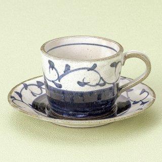 染付タコ唐草切立コーヒー碗皿 和食器 コーヒー碗・受皿 業務用 和風 来客用 マイカップ 和モダン おしゃれ