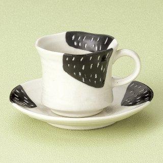 黒カスリコーヒー碗皿 和食器 コーヒー碗・受皿 業務用 和風 来客用 マイカップ 和モダン おしゃれ