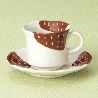 赤カスリコーヒー碗皿 和食器 コーヒー碗・受皿 業務用 和風 来客用 マイカップ 和モダン おしゃれ