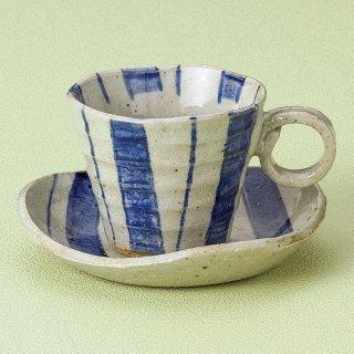 さざ波呉須十草コーヒー碗皿 和食器 コーヒー碗・受皿 業務用 和風 来客用 マイカップ 和モダン おしゃれ
