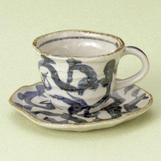 新たこ唐草コーヒー碗皿 和食器 コーヒー碗・受皿 業務用 和風 来客用 マイカップ 和モダン おしゃれ