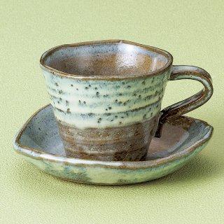 グリンうのふさざ波コーヒー碗皿 和食器 コーヒー碗・受皿 業務用 和風 来客用 マイカップ 和モダン おしゃれ