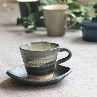 黒銀彩雲流コーヒー碗皿 和食器 コーヒー碗・受皿 業務用 和風 来客用 マイカップ 和モダン おしゃれ