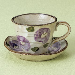 紫椿コーヒー碗皿 和食器 コーヒー碗・受皿 業務用 和風 来客用 マイカップ 和モダン おしゃれ