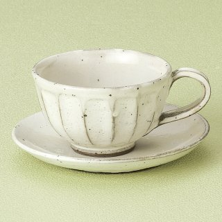 粉引面取りコーヒーC/S 和食器 コーヒー碗・受皿 業務用 和風 来客用 マイカップ 和モダン おしゃれ