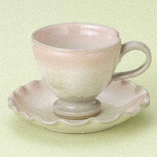 桃吹 手造 高台コーヒー碗皿 和食器 コーヒー碗・受皿 業務用 和風 来客用 マイカップ 和モダン おしゃれ