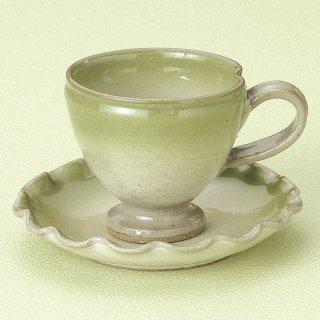 緑吹 手造 高台コーヒー碗皿 和食器 コーヒー碗・受皿 業務用 和風 来客用 マイカップ 和モダン おしゃれ