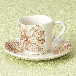 大輪菊白コーヒー碗皿 和食器 コーヒー碗・受皿 業務用 和風 来客用 マイカップ 和モダン おしゃれ