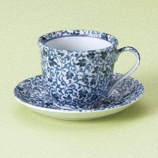 古染唐草コーヒー碗皿 和食器 コーヒー碗・受皿 業務用 和風 来客用 マイカップ 和モダン おしゃれ