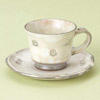 粉引き印花コーヒー碗皿 和食器 コーヒー碗・受皿 業務用 和風 来客用 マイカップ 和モダン おしゃれ
