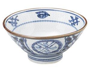 古染間取丸紋 ライス丼 和食器 ライス丼・茶漬 業務用 約14.8cm 和食 和風 ご飯茶碗 どんぶり 小料理屋 料亭