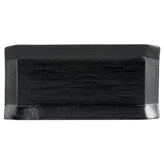 こより 黒マット 中皿 黒い器 洋食器 長角プレート(M) 業務用 約24cm 長皿 角皿 中皿 前菜 オードブル 焼物皿