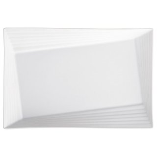 Scena White32cmリムライン角プラター 白い器 洋食器 長角プレート(L) 業務用 約32cm 長皿 角皿 大皿