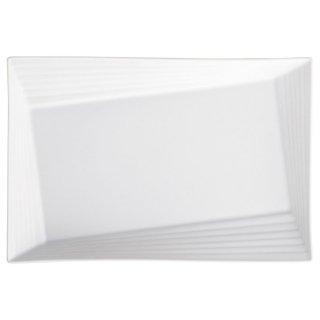 Scena White34.5cmリムライン角プラター 白い器 洋食器 長角プレート(L) 業務用 約34.5cm 長皿 角皿