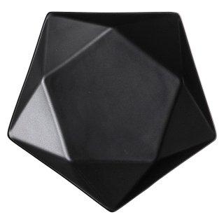アポロ黒20cm浅ボール 洋食器 楕円・変形ボール(M) 業務用 約21cm 黒マット 五角 五角形 お皿 シンプル モダン