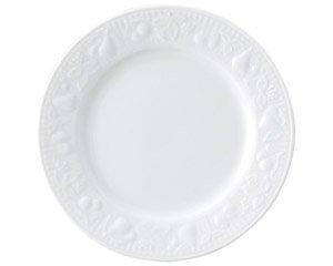 フルーツレリーフ 6 1/2吋ミート 白い器 洋食器 丸型プレート(S) 業務用 約16.8cm ケーキ屋