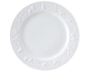 フルーツレリーフ 9吋ミート 白い器 洋食器 丸型プレート(M) 業務用 約23.5cm 丸皿 中皿 洋食 白いお皿 ディナー皿