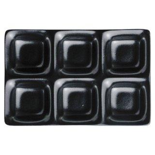 いぶし天目コワケ6品皿 黒い器 洋食器 仕切プレート 業務用 約25.5cm ビュッフェ 仕切皿 おしゃれ