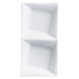 フレアー二品盛皿 白い器 洋食器 仕切プレート 業務用 約16.7cm ビュッフェ 仕切皿 おしゃれ