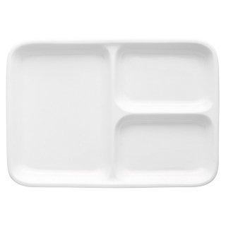 白磁軽量強化三つ仕切長角23cm 洋食器 ランチプレート 業務用 約22.4cm 洋食 仕切皿 ワンプレート