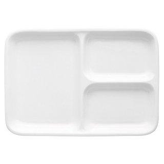 白磁軽量強化三つ仕切長角25cm 洋食器 ランチプレート 業務用 約25.4cm 洋食 仕切皿 ワンプレート
